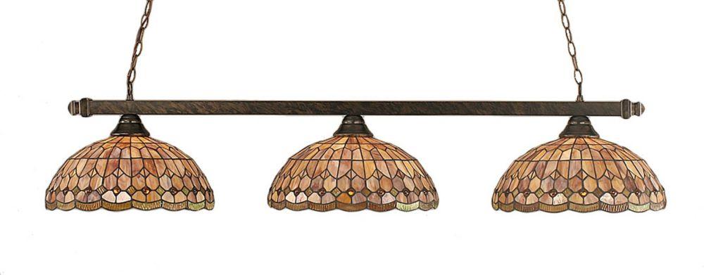 Concord 3-Light Ceiling Bronze Billiard Bar with a Rosetta Tiffany Glass