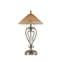 Filament Design Concord 16 en nickel brossé Lampe de table incandescence par un verre ambre