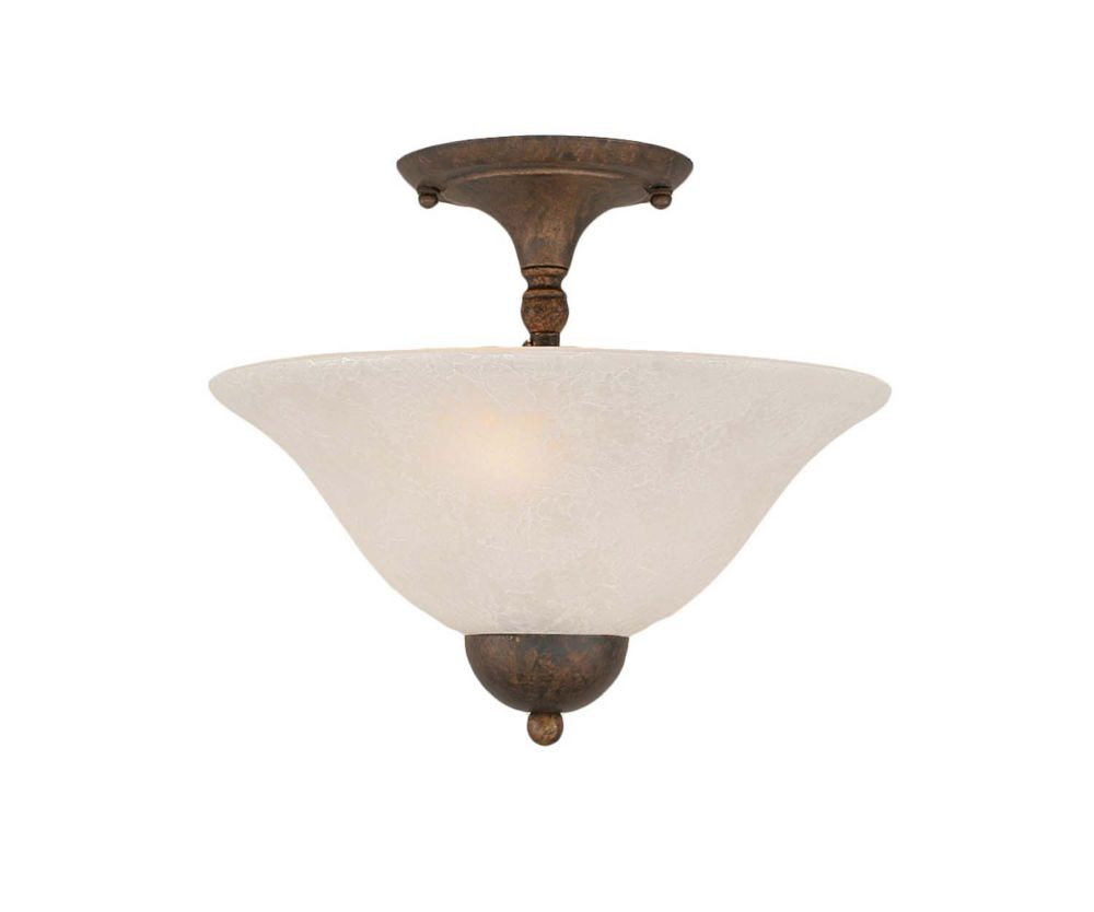 Concord 2 Light Ceiling Bronze Incandescent Semi Flush with a White Marble Glass
