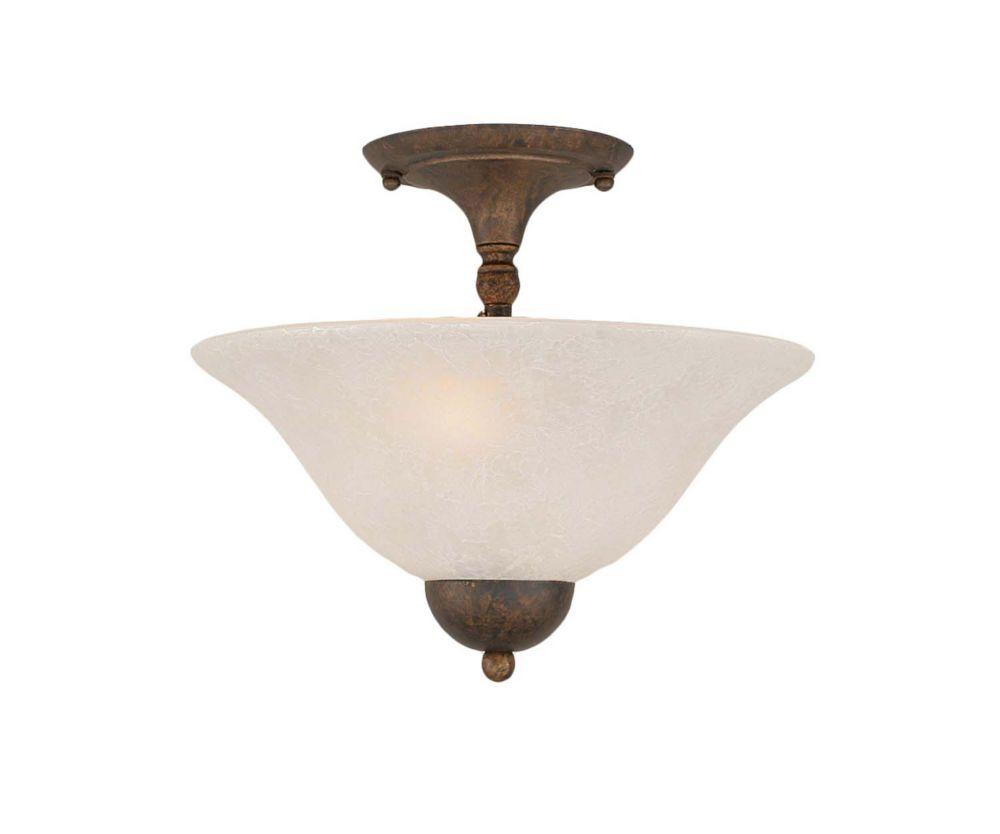 Concord 2 lumières plafond Bronze Incandescent Semi Flush avec un verre de marbre blanc