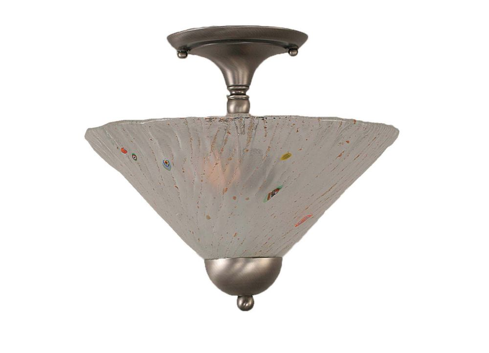 Concord 2-Light Ceiling Brushed Nickel Semi Flush with a Frosted Crystal Glass