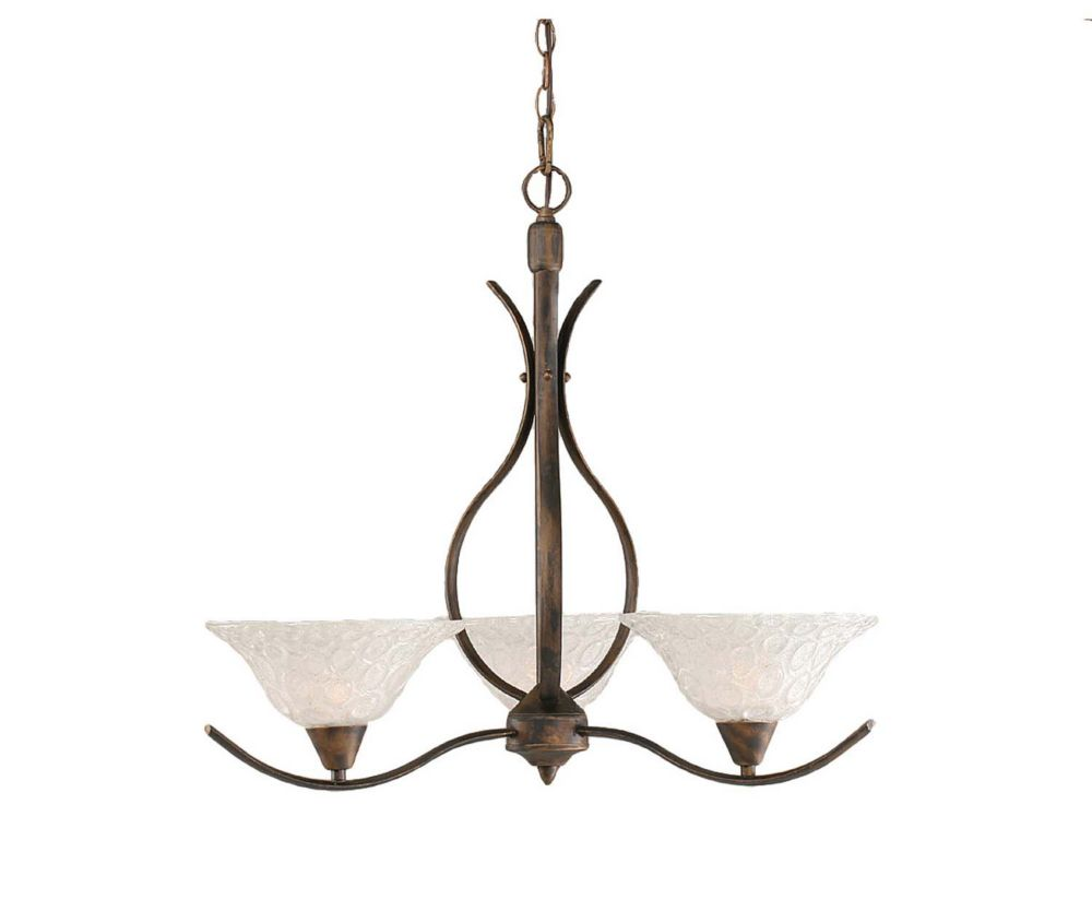 Concord 3-Light Ceiling Bronze Chandelier with a Clear Crystal Glass