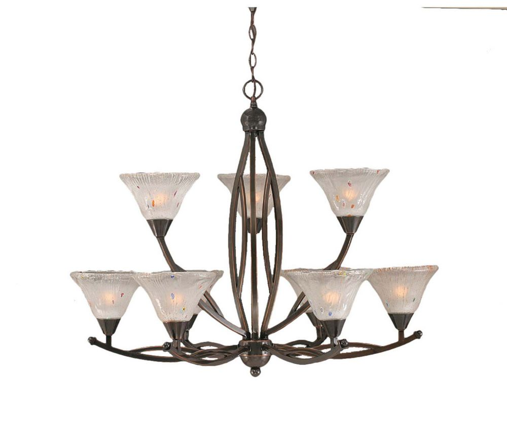 Concord 9 Light Ceiling Black Copper Incandescent Chandelier with a Frosted Crystal Glass