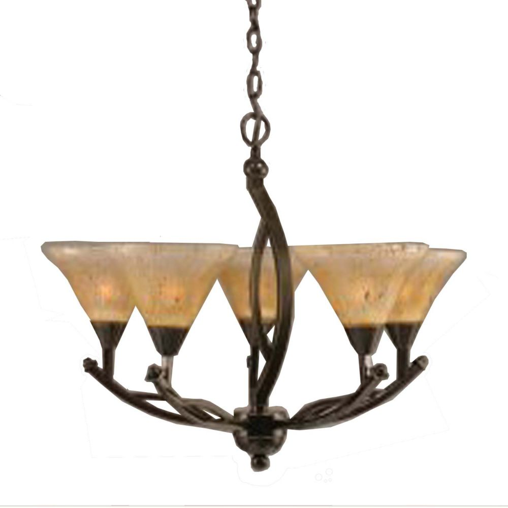 Concord 5-Light Ceiling Onyx Chandelier with an Amber Glass