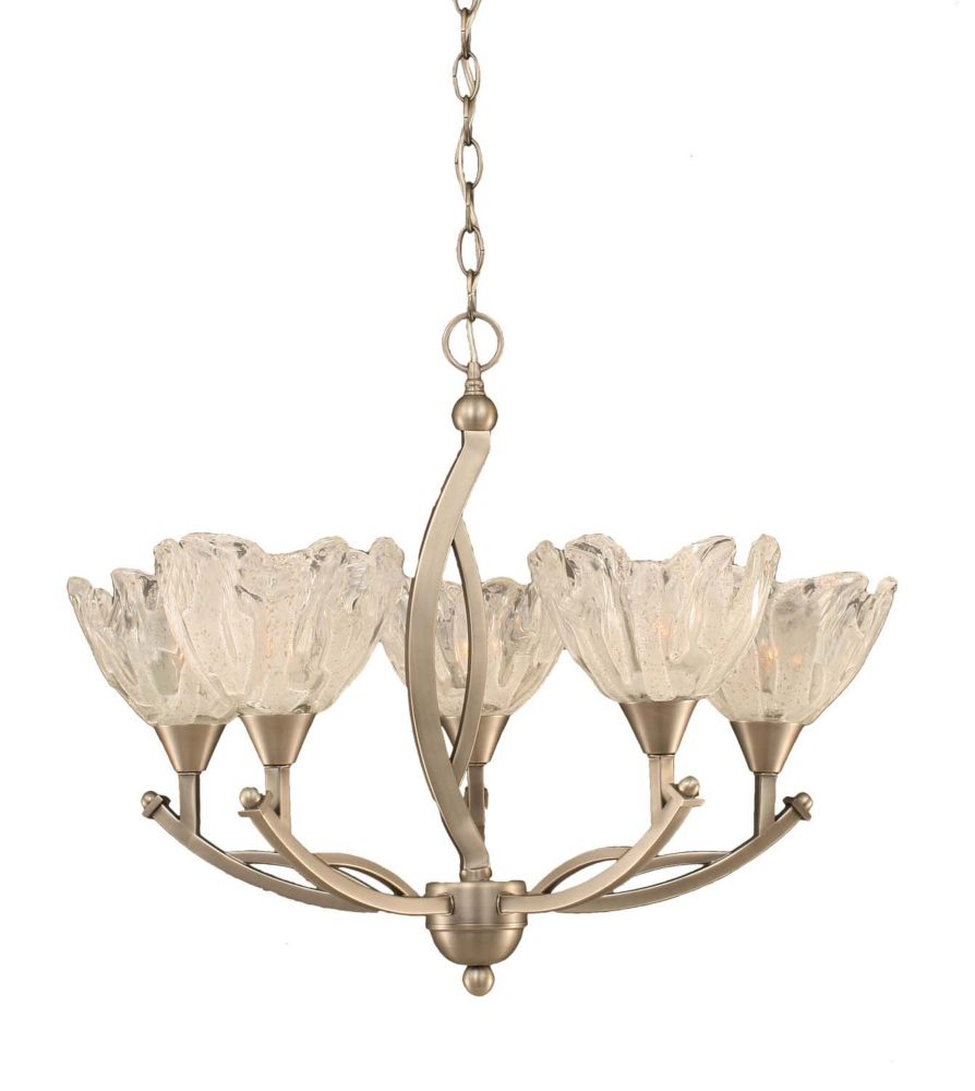 Concord 5-Light Ceiling Brushed Nickel Chandelier with a Clear Crystal Glass
