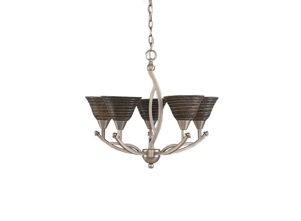 Concord plafond de 5 lumières Chandelier brossé Nickel incandescence d'une spirale en verre de ch...