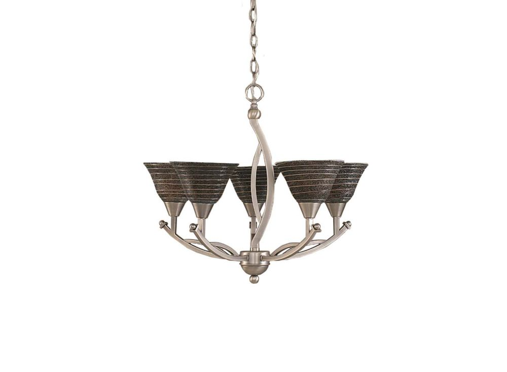 Filament Design Concord 5-Light Ceiling Brushed Nickel Chandelier with a Charcoal Spiral Glass