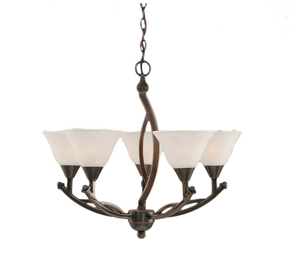Concord 5 Light Ceiling Black Copper Incandescent Chandelier with a White Marble Glass