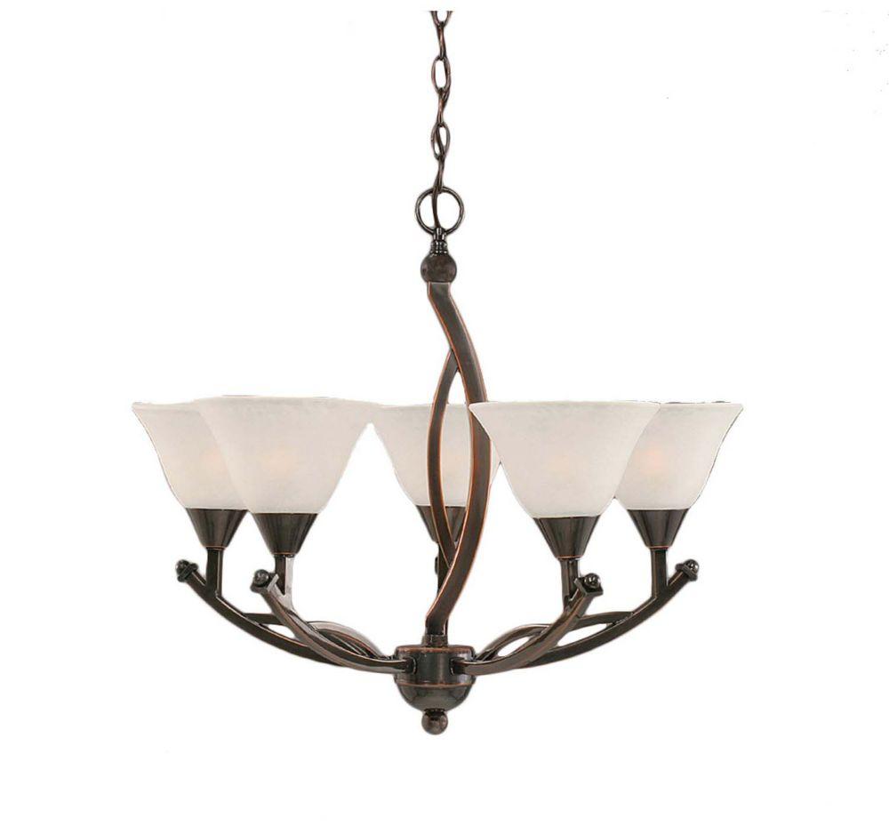 Concord 5 lumières plafond Noir Copper Chandelier à incandescence avec un verre de marbre blanc