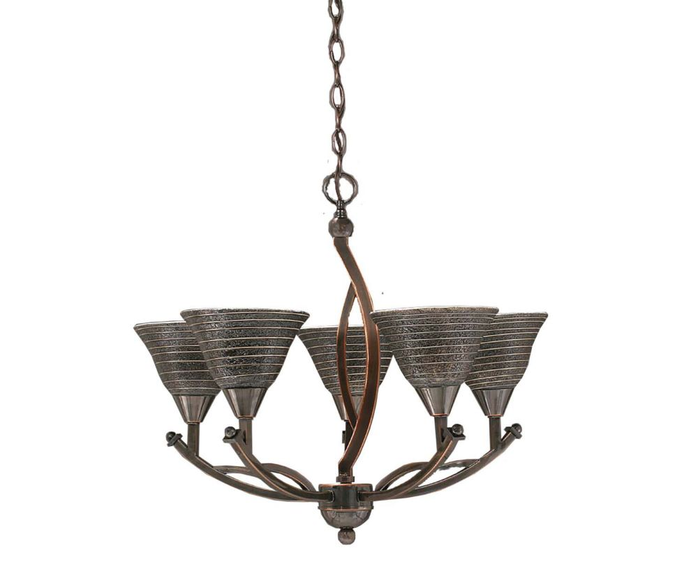 Concord 5 Light Ceiling Black Copper Incandescent Chandelier with a Charcoal Spiral Glass