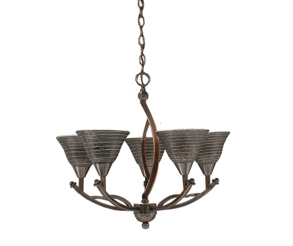 Concord 5 lumières plafond Noir Copper Chandelier incandescence par une spirale en verre de charb...