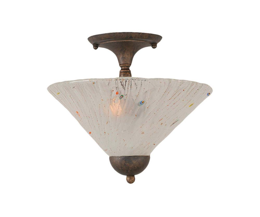Concord 2-Light Ceiling Bronze Semi Flush with a Frosted Crystal Glass