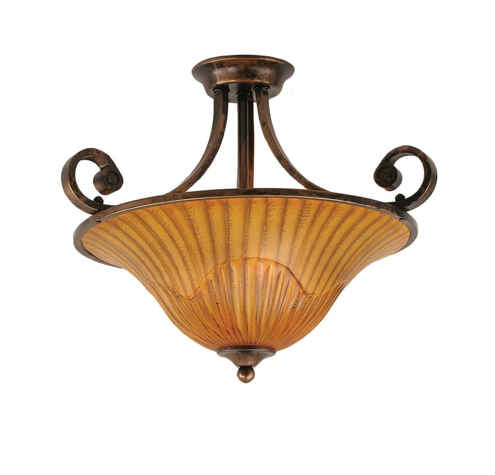 Concord 3 Light Ceiling Bronze Incandescent Semi Flush with a Tiger Glass