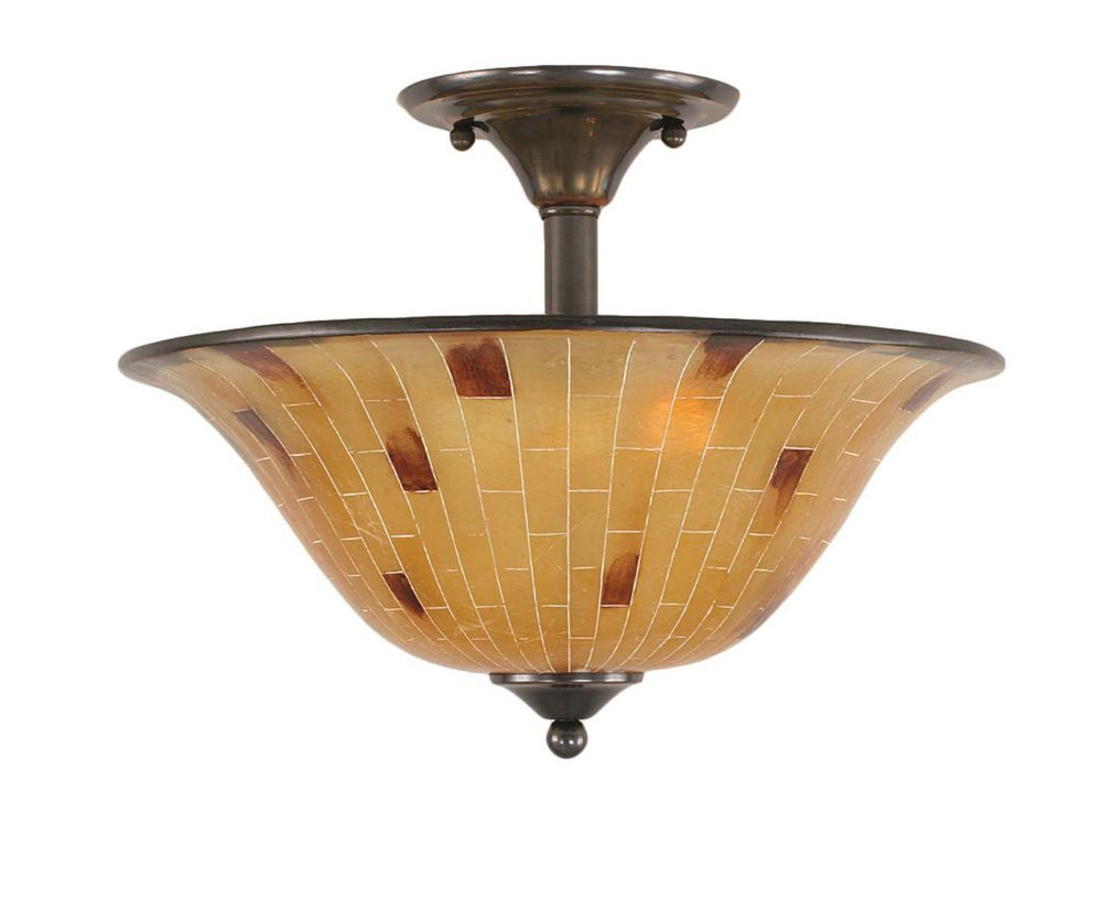 Concord 2-Light Ceiling Black Copper Semi Flush with a Penshell Resin Glass