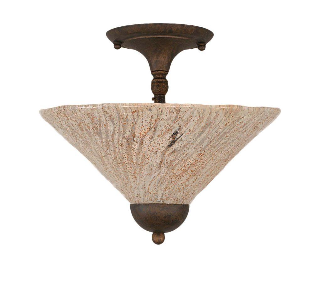 Concord 2 lumières plafond Bronze Incandescent Semi rincer avec un verre cristal