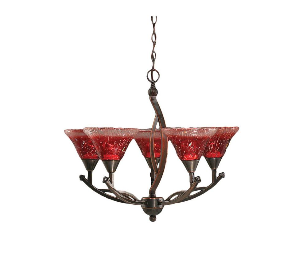 Concord 5 Light Ceiling Black Copper Incandescent Chandelier with a Raspberry Crystal Glass