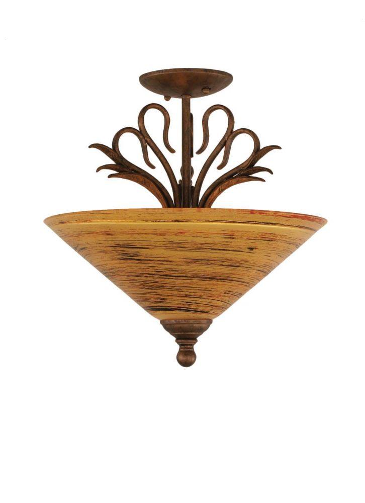 Concord 3 Light Ceiling Bronze Incandescent Semi Flush with a Firré Saturn Glass