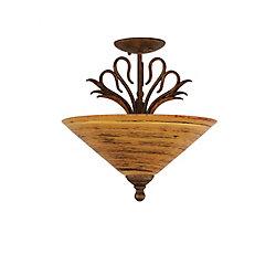Filament Design Concord 3 lumières plafond Bronze Incandescent Semi rincer avec un  Saturne verre