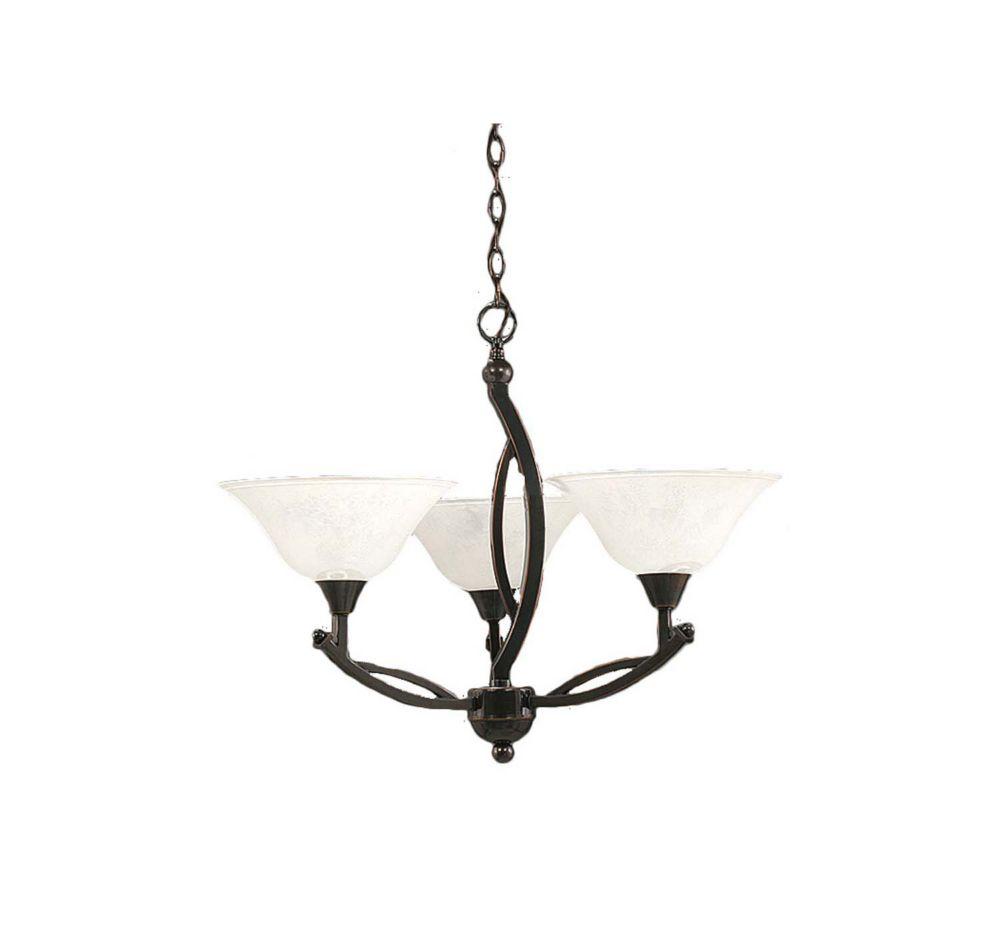 Concord 3 lumières plafond Noir Copper Chandelier à incandescence avec un verre de marbre blanc