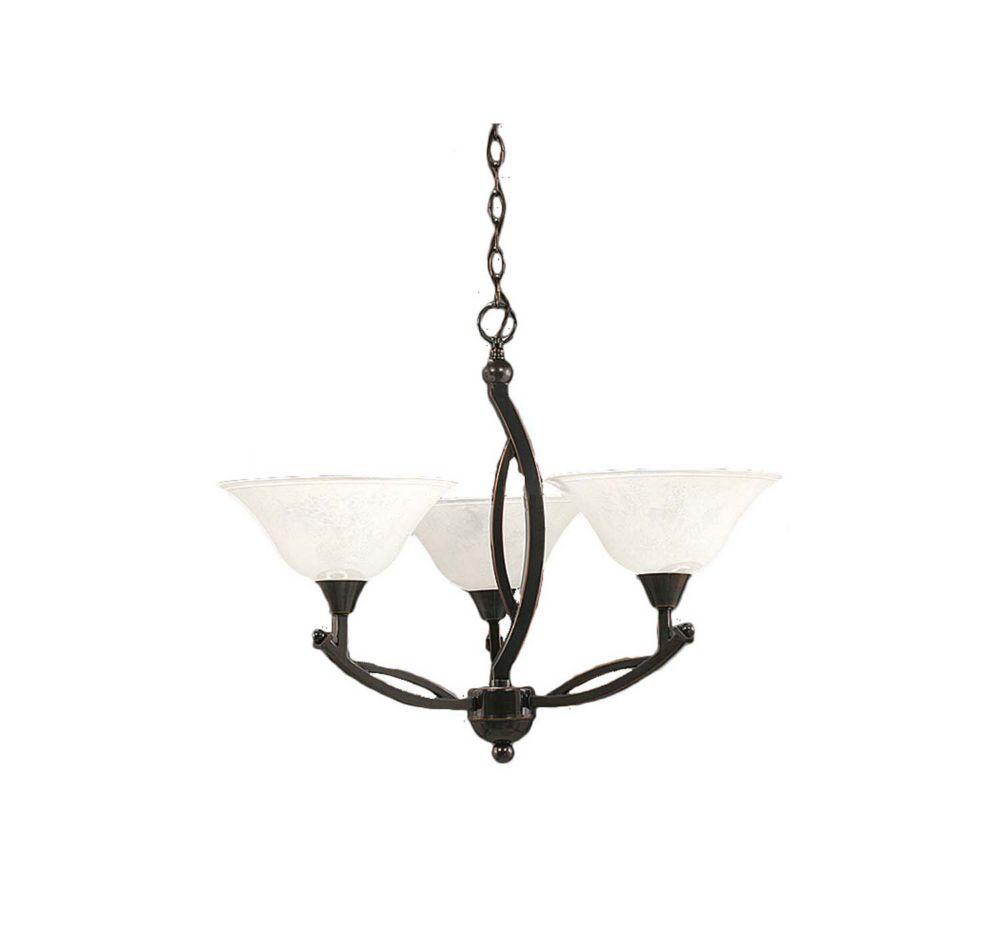 Concord 3-Light Ceiling Black Copper Chandelier with a White Marble Glass