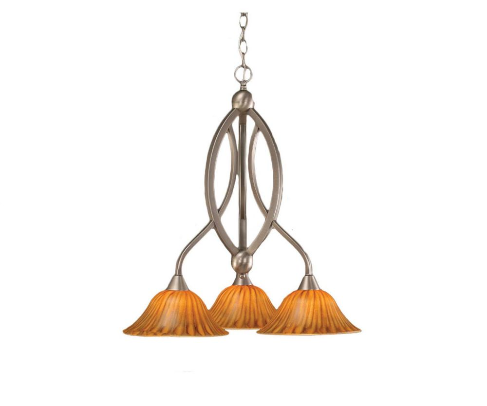 Concord 3 Light Ceiling Brushed Nickel Incandescent Chandelier with a Tiger Glass