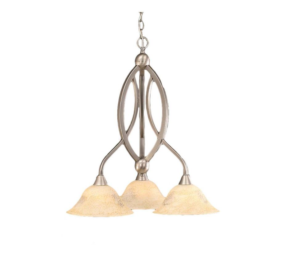 Concord 3-Light Ceiling Brushed Nickel Chandelier with an Italian Marble Glass