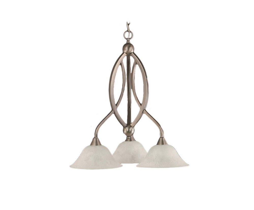 Concord plafond à 3 lumières Lustre à incandescence brossé Nickel avec un verre de marbre blanc