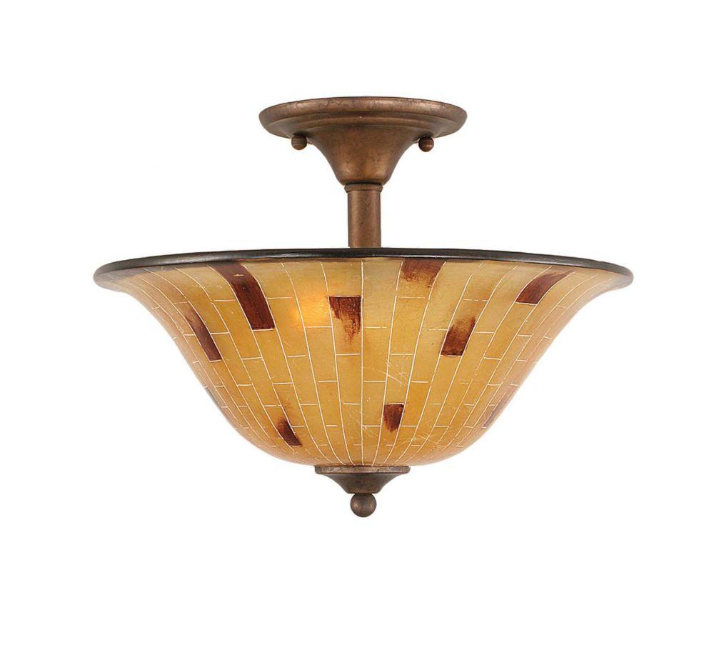 Concord 2 lumières plafond Bronze Incandescent Semi Flush avec une résine Penshell