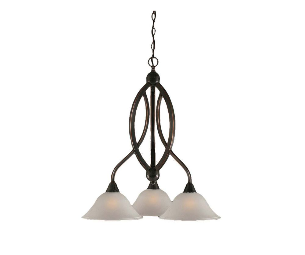 Concord 3 Light Ceiling Black Copper Incandescent Chandelier with a Dew Drop Glass