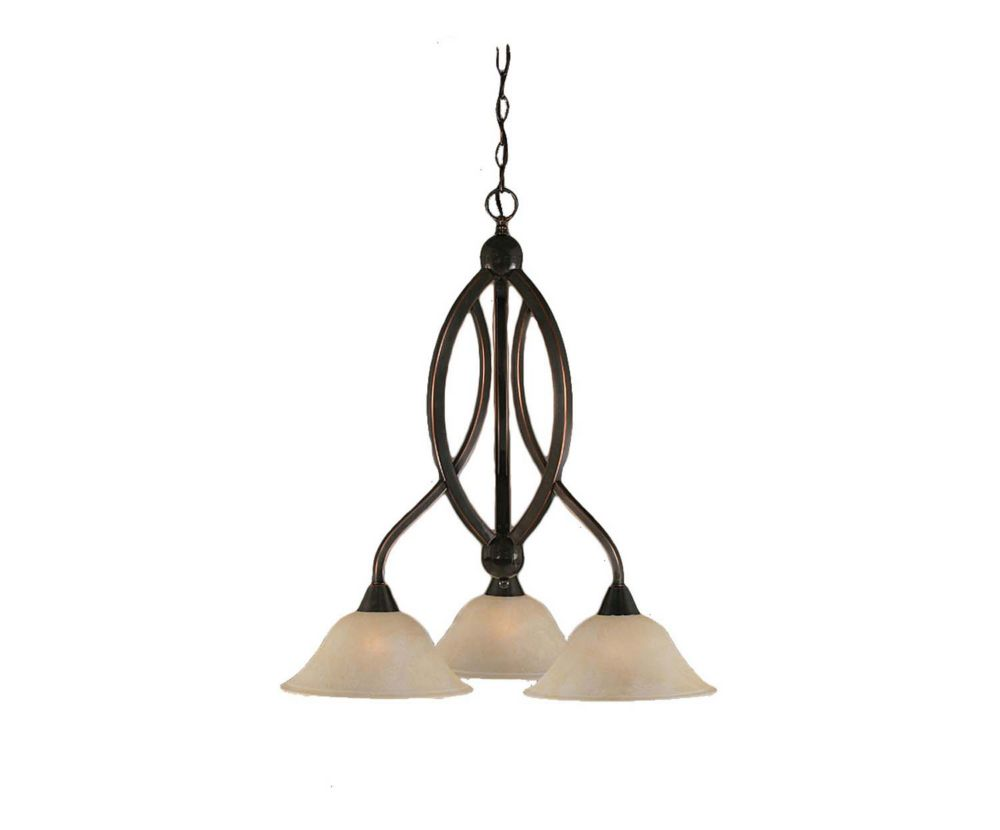 Concord 3 Light Ceiling Black Copper Incandescent Chandelier with an Amber Glass