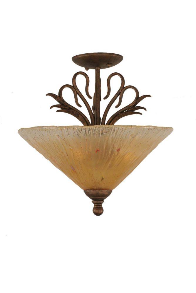 Concord 2 lumières plafond Bronze Incandescent Semi Flush avec un verre ambre