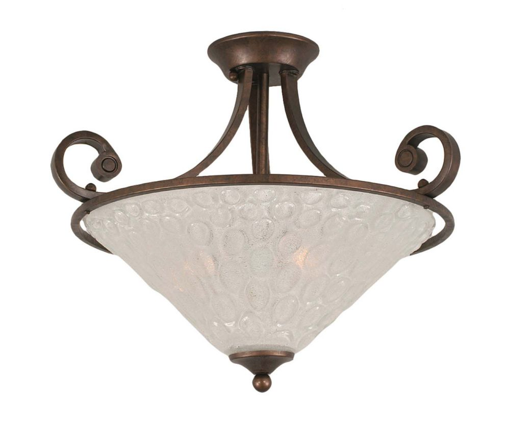 Concord 3 lumières plafond Bronze Incandescent Semi rincer avec un verre cristal
