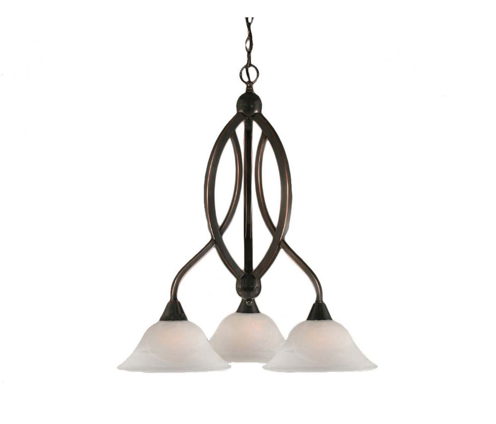 Concord 3 Light Ceiling Black Copper Incandescent Chandelier with an Alabaster Glass