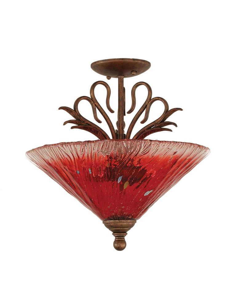 Concord 3-Light Ceiling Bronze Semi Flush with a Raspberry Crystal Glass
