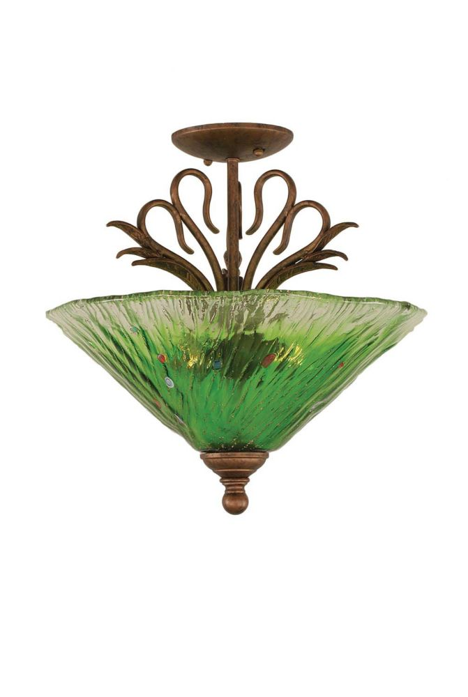 Concord 3 Light Ceiling Bronze Incandescent Semi Flush with a Green Crystal Glass