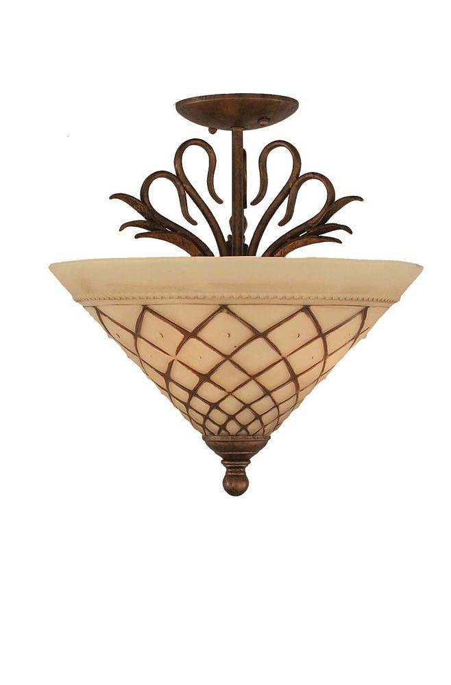 Concord 3 lumières plafond Bronze Incandescent Semi Flush avec un verre de glaçage au chocolat