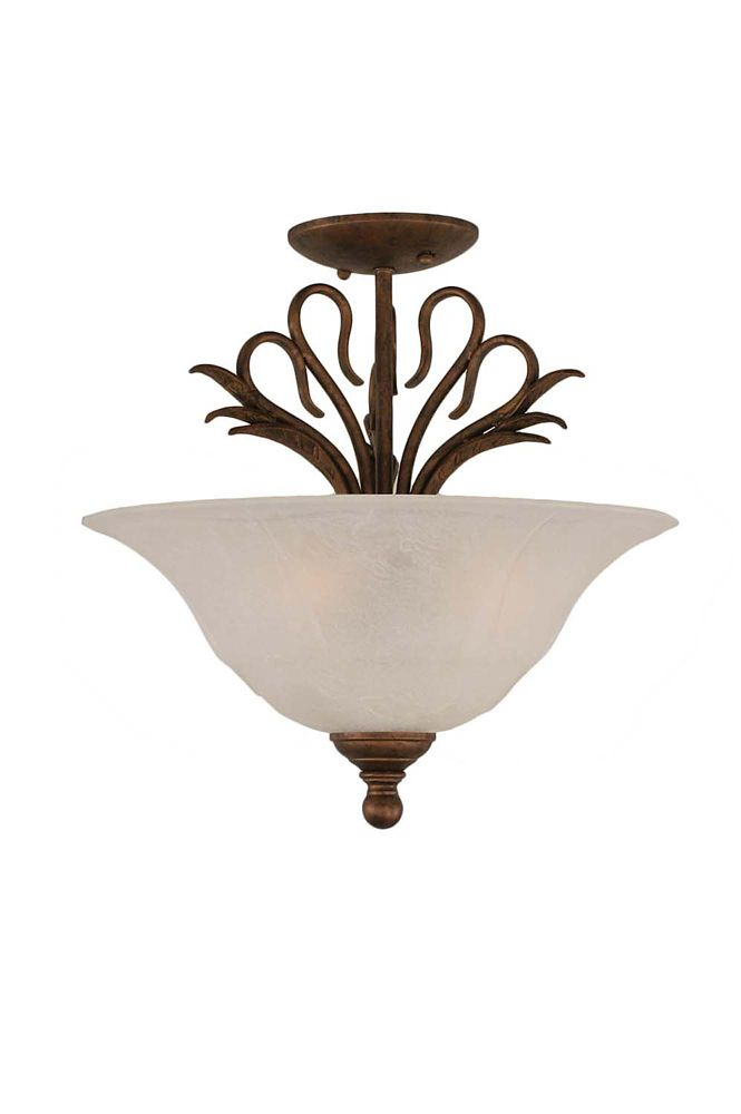 Concord 3-Light Ceiling Bronze Semi Flush with a White Marble Glass