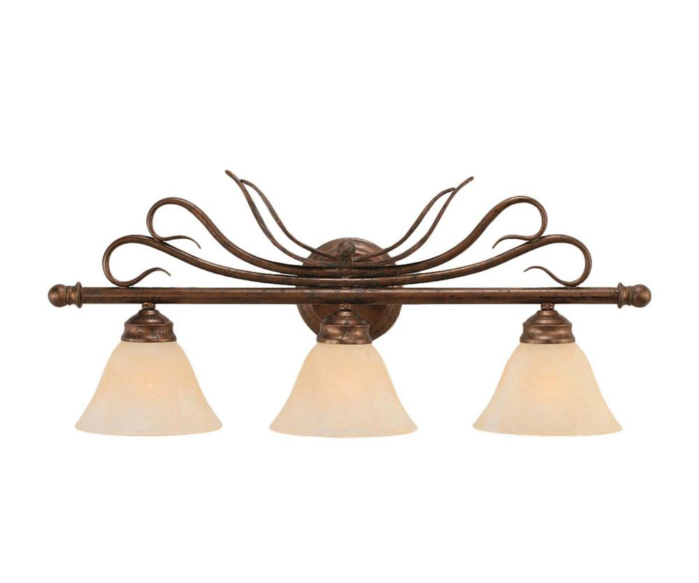 Concord 3 Light Wall Bronze Incandescent Bath Vanities with an Amber Glass