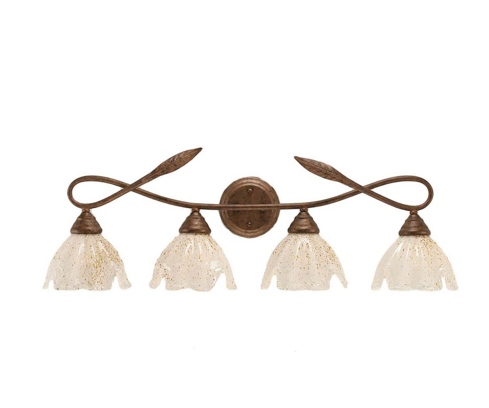 Concord 4-Light Wall Bronze Bath Vanities with a Gold Crystal Glass
