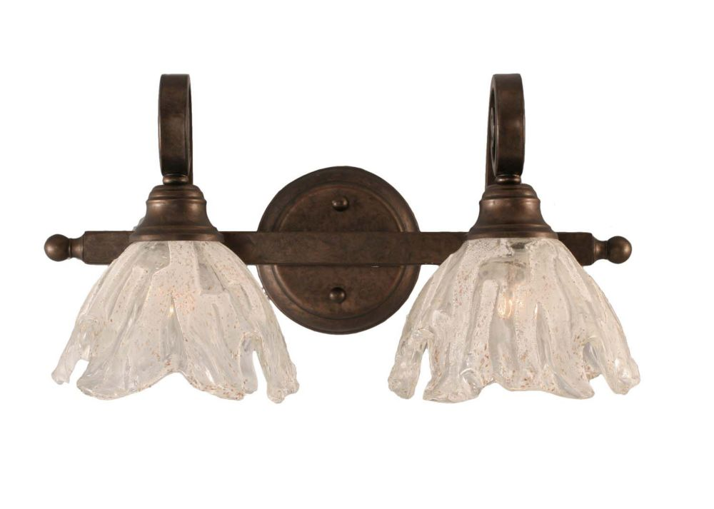Filament Design Concord 2 Light Wall Bronze Incandescent Bath Vanities with a Clear Crystal ...