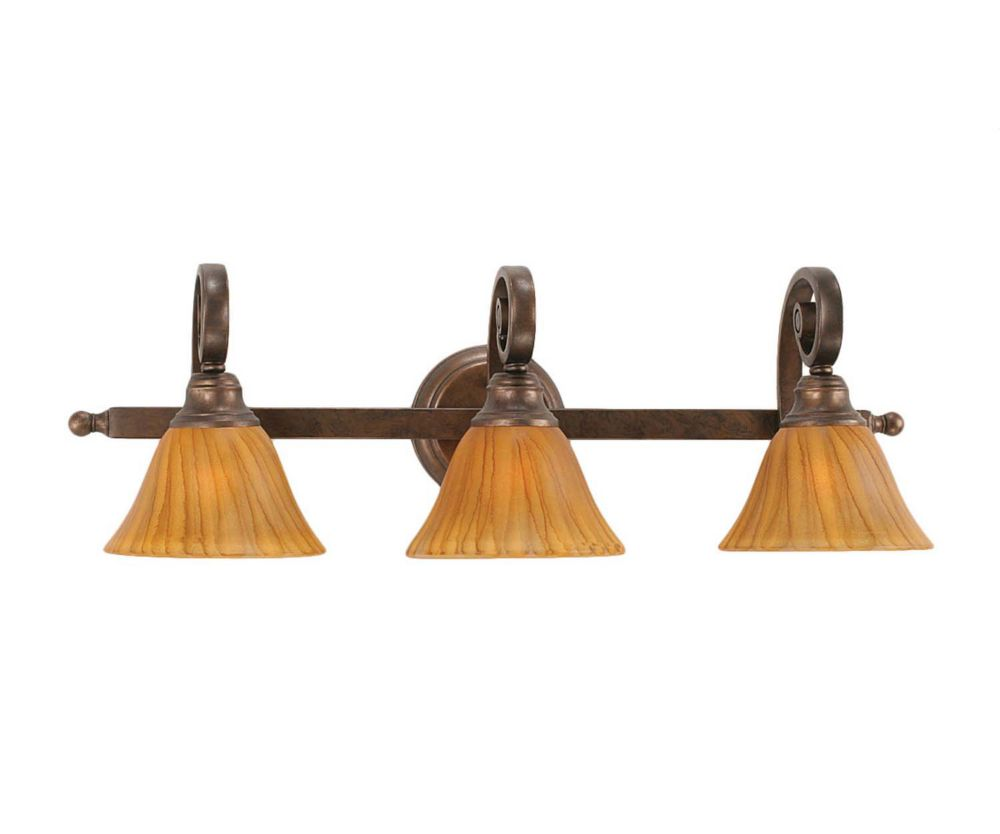 Concord 3-Light Wall Bronze Bath Vanities with a Tiger Glass
