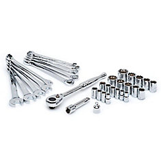 33pc 1/4 Inch & 3/8 Inch Drive Universal Mechanics Tool Set