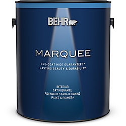 Behr Marquee Marquee 3.7 L Ultra Pure White Satin Enamel Interior Paint with Primer