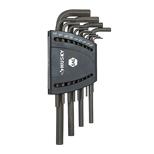The Husky 13-Piece SAE Long-Arm Hex Key Set features alloy steel construction for strength and long-lasting performance. These keys resist rotational distortion. The finish provides resistance to corrosion.