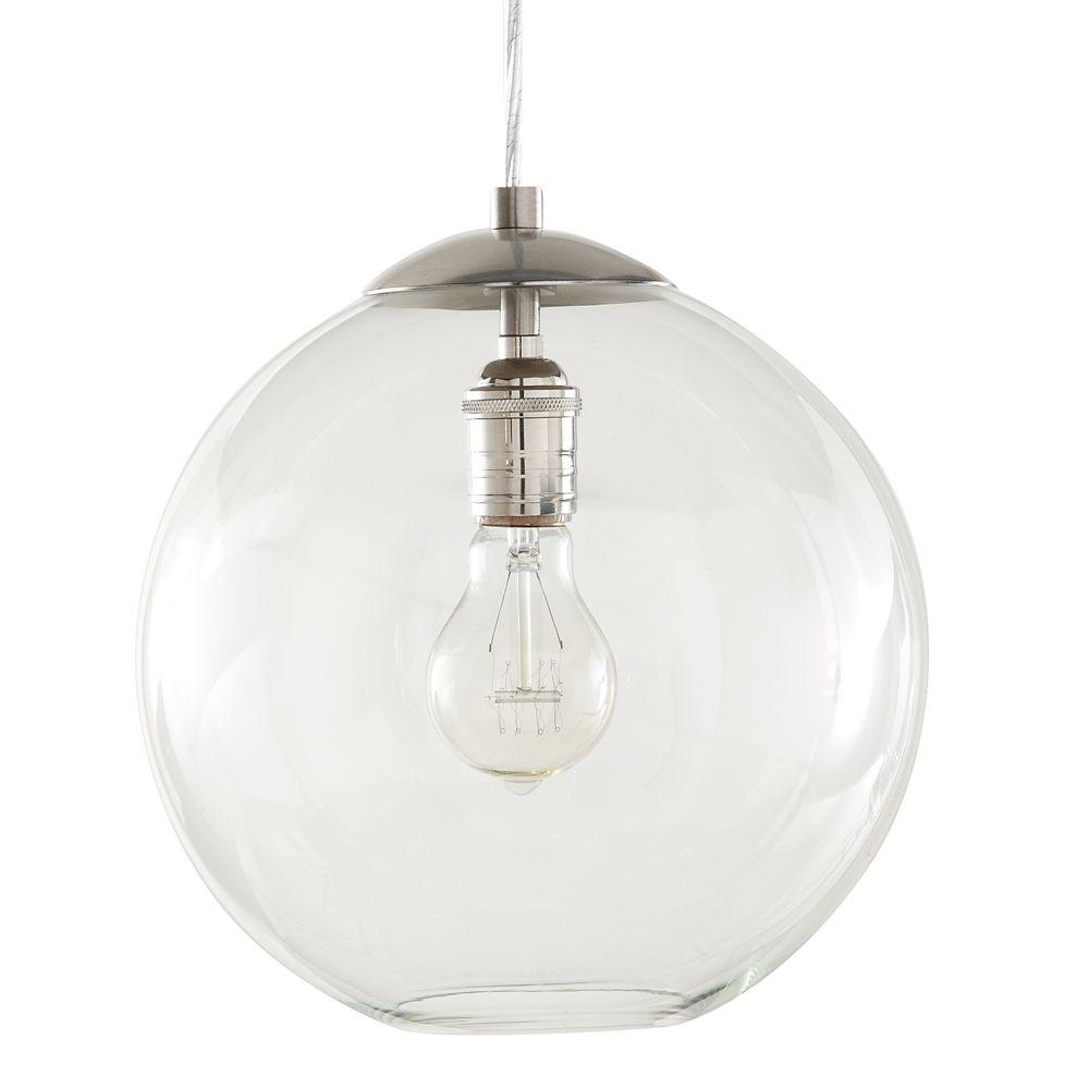 Luminaire Verre WAvec Globe Ampoule En SuspenduNickel De 60 Diffuseur BrosséUne ZXPkuOi