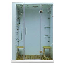 Steam Planet Modern, Stylish Steam and Shower Enclosure with Multi Body Message Water Jets, Radio and Aromatherapy (Left Hand Side)