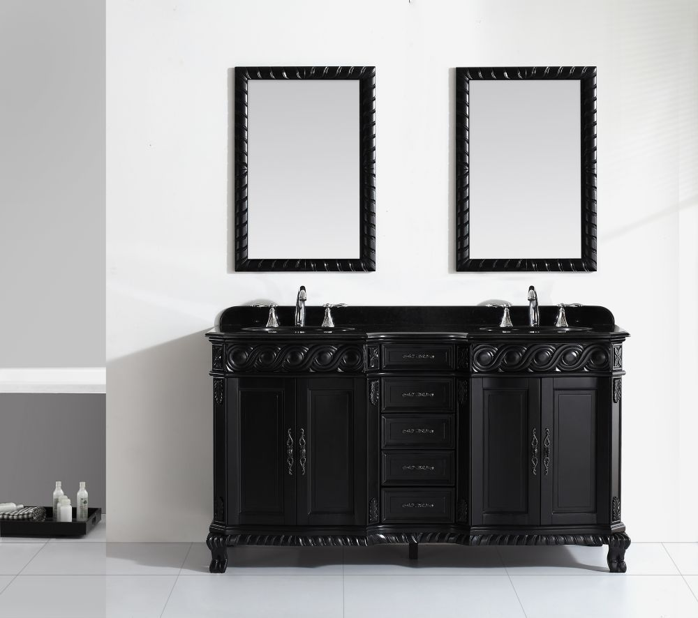 Jessa 60 Inch Black Solid Wood Vanity