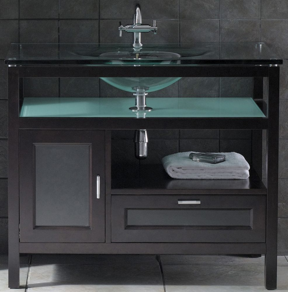 Ove Decors Mist 40 Inch W Vanity In Espresso Finish With Tempered Glass Top The Home Depot Canada