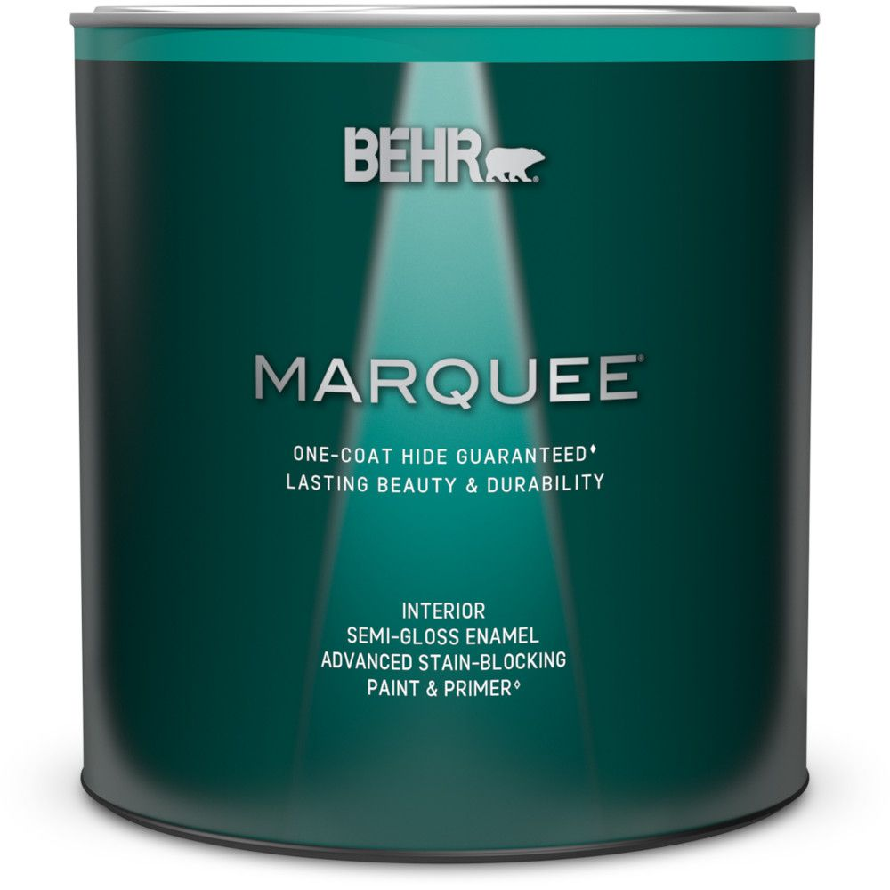 Behr Marquee Interior Paint Primer In One Semi Gloss Enamel Ultra Pure White 946 Ml The