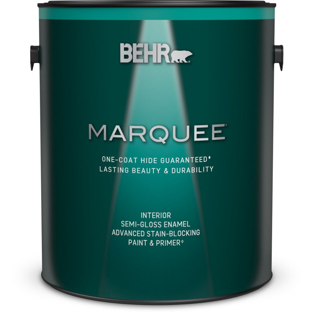 Behr Marquee Interior Paint Primer In One Semi Gloss Enamel Medium Base 3 7 L The Home